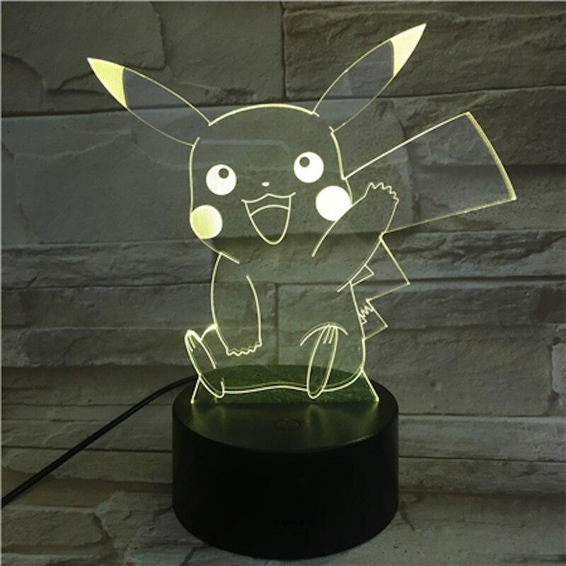 Takara Tomy Pokemon toys 3D LED Night Light Pikachu Eevee Charizard Jigglypuff Action Figure Toy kids Birthday Gift